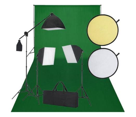 Studioset filmset voor vloggen - Groen scherm en studiolampen